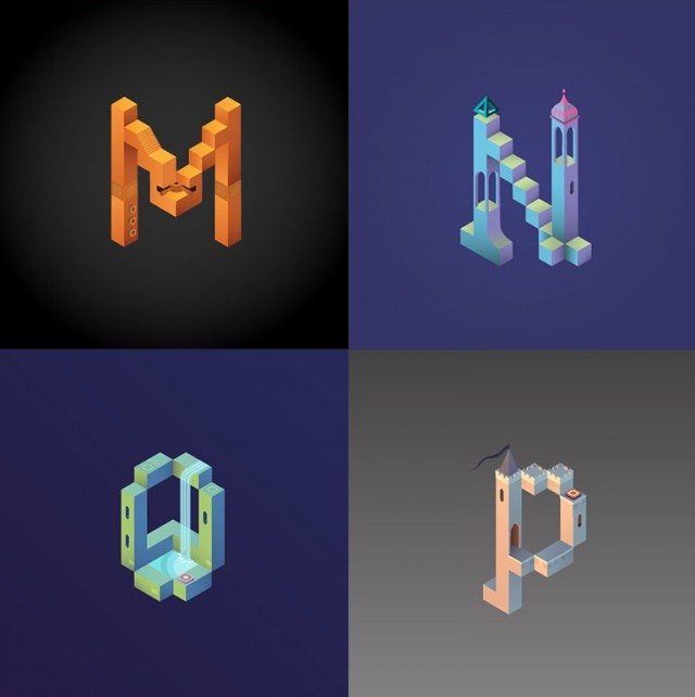 Alphabet-Inspired-by-Monument-Valley_3-640x642