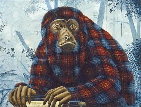 Tartan-Animals-Paintings-monkey-sean-landers-580x440