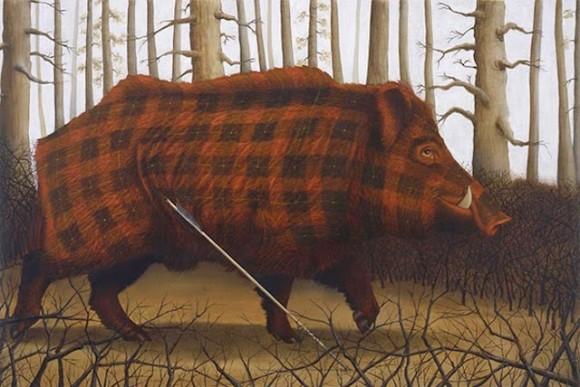Tartan-Animals-Paintings-sean-landers-wild-pig-580x387