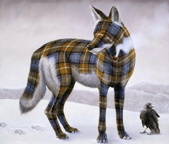 Tartan-Animals-Paintings-sean-landers-wolf-580x492