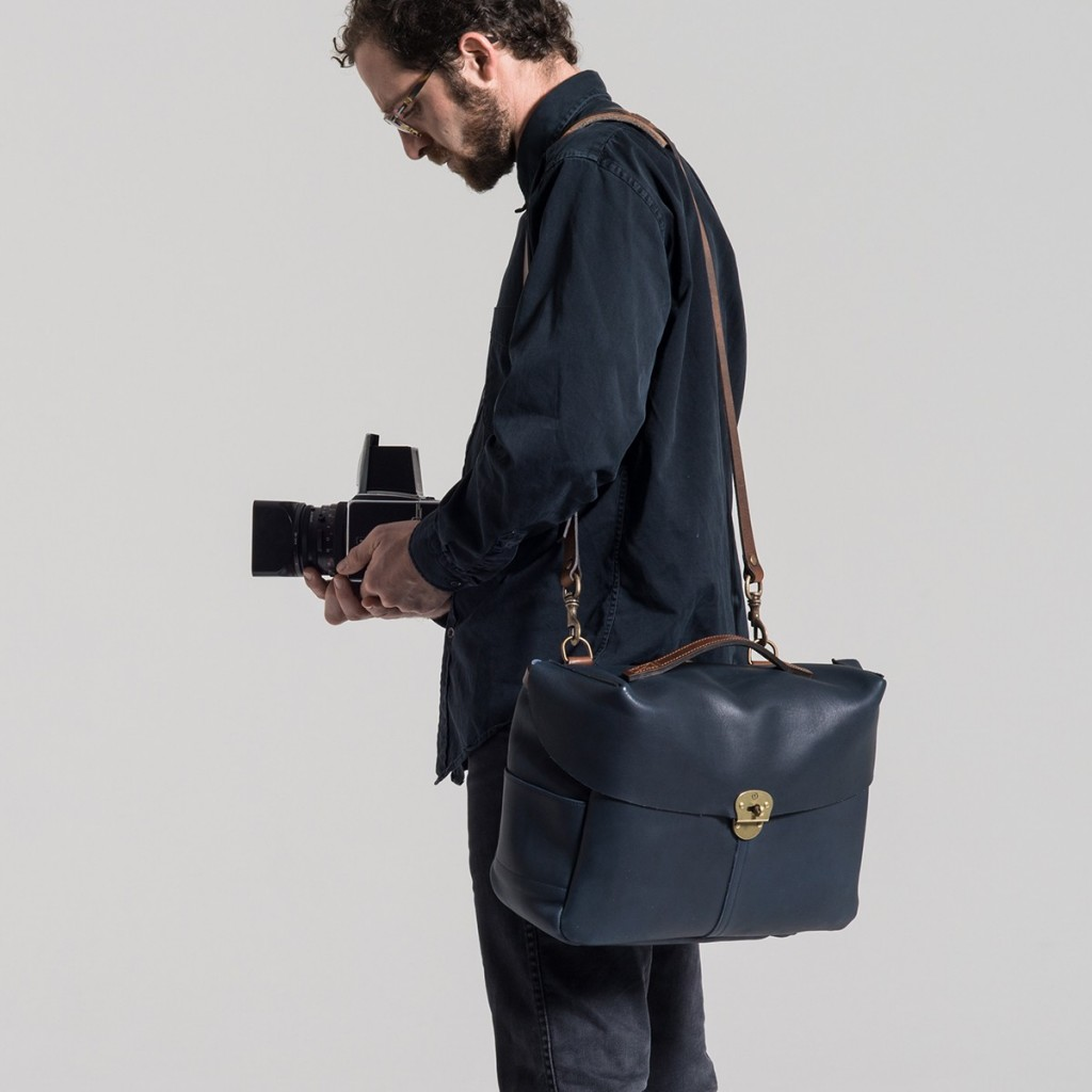 sac photo cuir bleu de chauffe