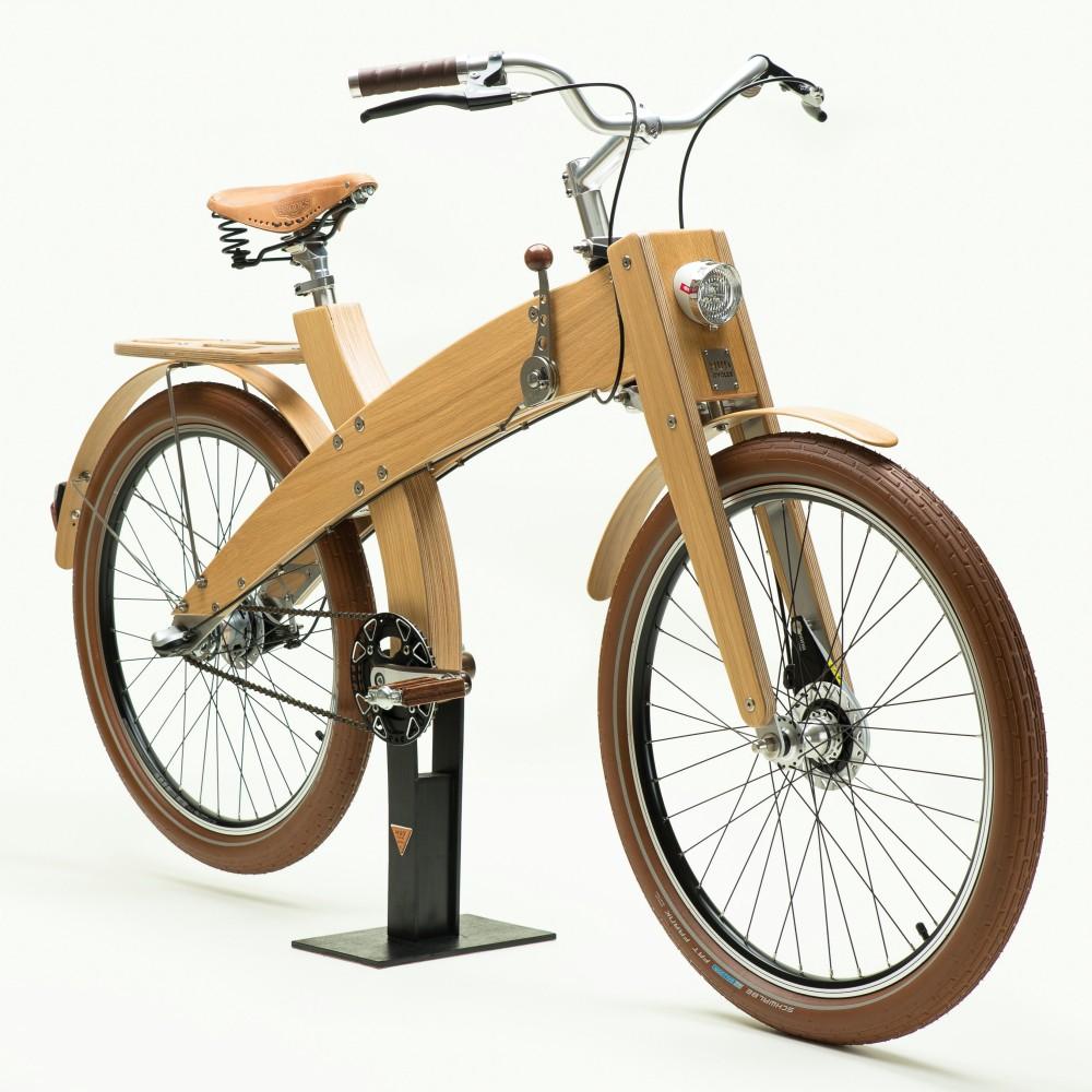 velo bois MUD wood selle cuir projet home