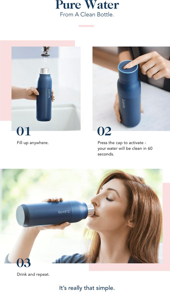 輕點瓶蓋,即可淨化水瓶。